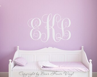 Girls monogram script fancy monogram wall decal vinyl decal