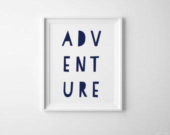 Adventure Nursery Art Printable. Adventure Typography Big Boy Room Navy Nursery Boy , Travel Nursery Large Wall Art Gender Neutral