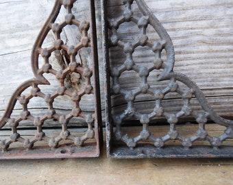 Two antique brackets Eastlake decorative Shelf Furniture architectural salvage wall supplies Ornate iron bracket