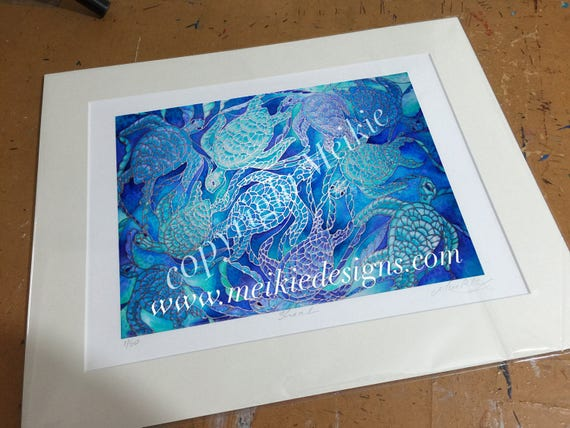 Sea Turtle Bathroom Wall Art Blue Turquoise Violet Silk