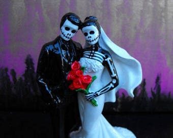 Wedding Cake Topper Day of the Dead Skeleton Couple 6 Inches