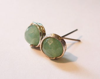 Green aventurine earstuds, wrapped post earrings, Sterling silver handmade natural jewelry, 30th birhtday gift, small gift, affordable