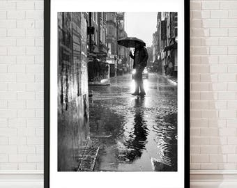 black and white photography, street photography London prints, Soho London, prints, London, Rain art, monochrome photo, puddle art, wall art
