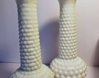 Set of 2 Hobnail Milk Glass Vases, Set of Vintage Vases, Milk Glass Vases, Milk Glass