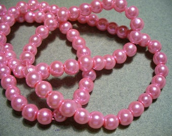 Glass Pearls Pink 6MM