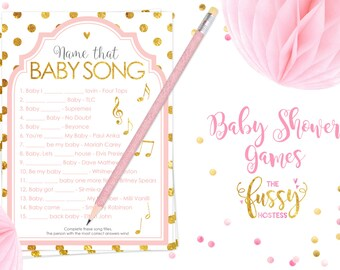 Name That Song Baby Shower Games, Baby Shower Game, Printable Game, Instant  Download, Baby Shower, Printable Games, Pink And Gold