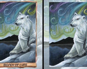 Polar Bear Print, Northern Lights, Seven of Cups Tarot Card, Custom Size Wall Art, Wildlife Poster, Animal Illustration, Animism Tarot