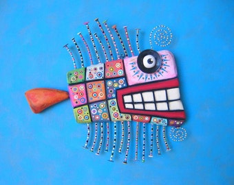 Quilted Rainbow Trout, MADE to ORDER, Original Found Object Wall Sculpture, Wood Carving, Wall Decor, by Fig Jam Studio