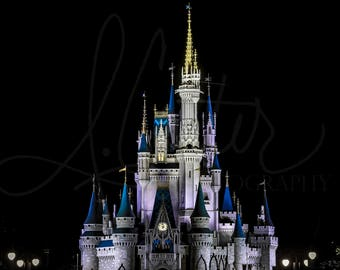 Classic Castle- High Quality Walt Disney World Magic Kingdom Cinderella Castle Nighttime Photography 5x7, 8x10, 11x14, 12x18, 16x20, 18x24