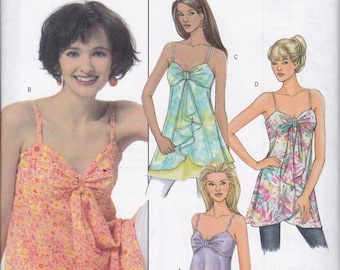 FREE US SHIP Butterick 4550 Sewing Pattern Strappy Summer Bra Tops Tunics Shaped Hem Size 6 8 10 12 Bust 30.5 31.5 32.5 34  Factory Folded
