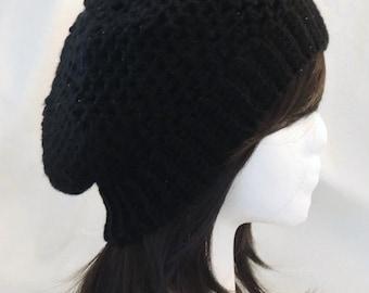 Black Crochet Shimmer Hat