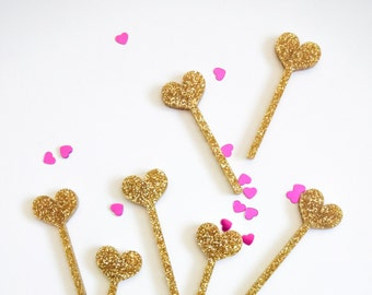 Mini Heart Cupcake Toppers, Laser Cut, Acrylic, 12 Ct., Valentine's Day Cake Toppers
