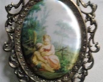 Vintage Italain Silk Print in ornate Metal Frame