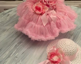 The Juliet - Flower girl dress first birthday dress Pretty in Pink Roses bling