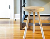 Dining Stool - White Ash / Kitchen / Bedroom / Side Table / End Table / Three-Legged / Minimal / Modern