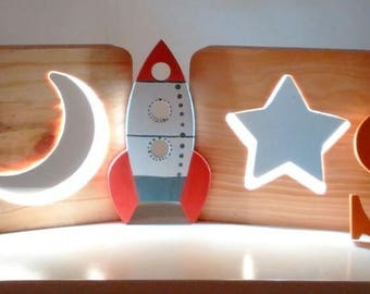 Beautiful lamps in pine wood for children