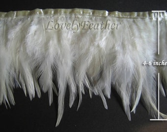 Hackle feather fringe of ivory color 2 yards trim New