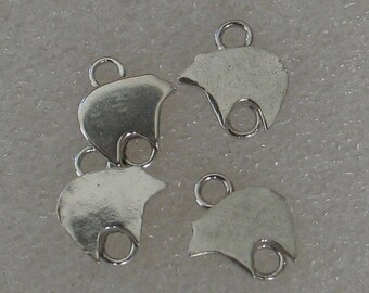Set of 4 Native American  Bear Sterling  Stampings with Rings 11mm