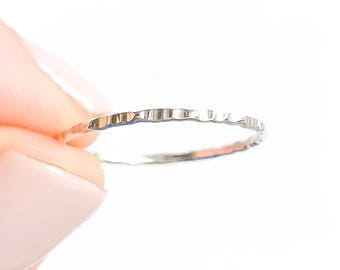 Thin Hammered Silver Ring- Sterling Silver Stack Ring