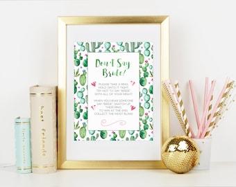 Don't Say Bride Game, Bridal Shower Game, Shower Activity, Green Watercolor Cactus Bridal Shower,Cacti, Desert Plants, Printable No. 1025