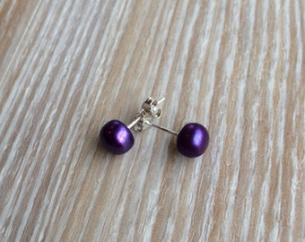 Pearl stud earrings 6-7mm Purple Freshwater Pearls and 925 sterling silver UK Make