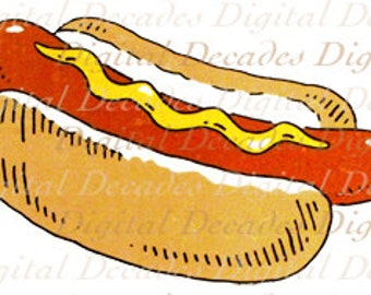 Hot Dog - Bun Mustard Cart Street Food Cook Out Grill Picnic Baseball - Digital Image - Vintage Art Illustration