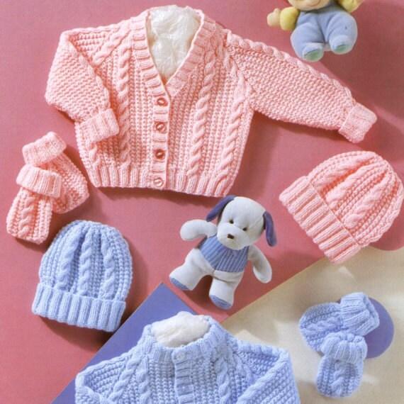 Vintage Knitting Pattern PDF Baby Cable Pram Sets Cardigan