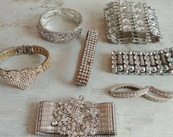 Super sparkle...Rhinestone destash Jewelry lot for repair, Jewelry making, arts and crafts, etc