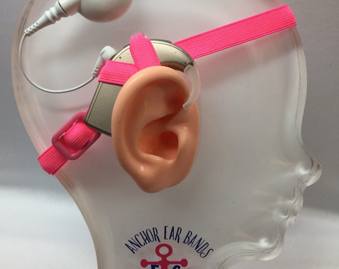 Pink - Cochlear Implant Heaband - Adjustable Length - Silicone Grip Sleeve - Non Slip Grip  - Unilateral, Bilateral, Bimodal options