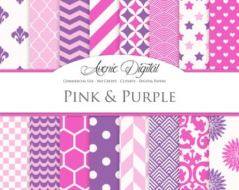 Pink and Purple Digital Paper. Scrapbook Backgrounds, Girly patterns for Commercial Use. Geometric, damask. floral. dots Instant Download.
