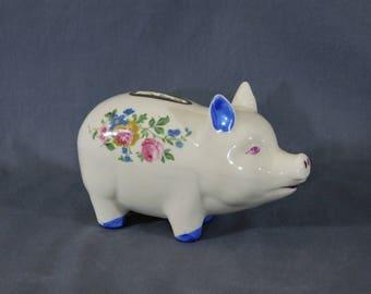 Vintage Ceramic Piggy Bank Floral Design Pink and Blue Flowers Still Pig Bank Pig Figurine Child's Bank