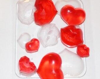 Set of hearts mold, small lips mold, soap mold, plaster mold, bath bombs mold, romantic mold, love mold, huge heart, tiny heart mold