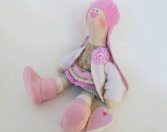 "Lizzie Art doll Artist bunny Stuffed toy Rabbit tilda cloth fabric toy OOAK handmade Soft Toy interior Girl gift Kids Decor home 18"" 45cm"