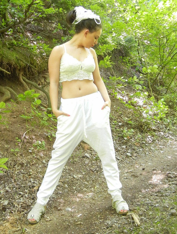 Linen White Harem Pants, Drop Crotch Summer Pants, Loose Baggy Pants