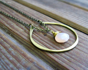 By Chance - Brass Horseshoe Necklace - Peach Moonstone Necklace - Artisan Tangleweeds Jewelry