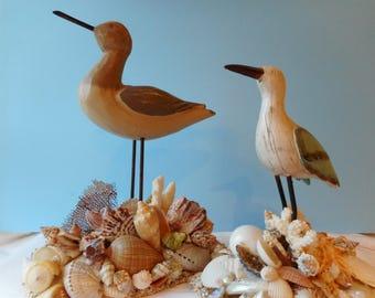 Beautiful Coastal Bird On Shelled Base-Coastal Decor-Bird With Shells-Aqua Shore Bird-Seashell-Seashell Art-Shore Bird