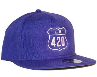 U.S. 420 Purple 6-Panel Flat Bill Embroidered Hat