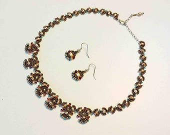 Hand Beaded Necklace and Matching Earrings in Gold Ivory Teal and Amber