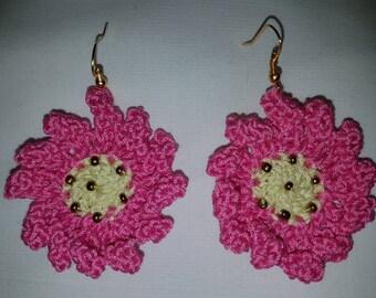wild rose crochet earrings earring fastener nickel