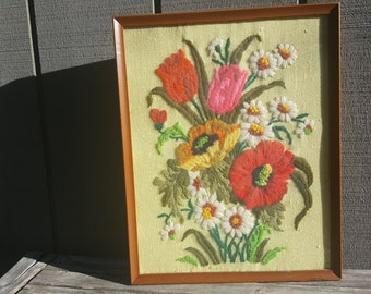 crewel embroidered vintage flower bouquet fiber art // poppies daisies tulips // retro boho wall art // framed