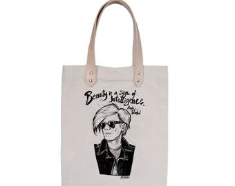 Tote Bag With leather straps - Screenprint Over Cotton Canvas Tote Bag Andy Warhol