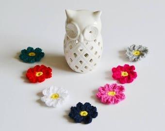 7 Mixed Colours Crochet Flowers  Applique Motif Embellishments