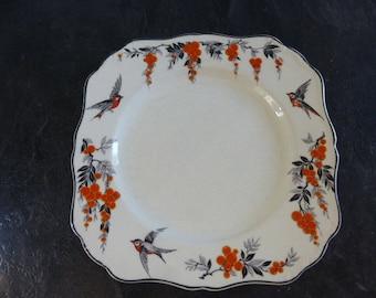 "J & G. Meakin cake or sandwich plate, made in England, ""Silver Wings"" pattern SOL 391413."