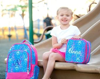 Monogrammed Backpack-- Book bag Monogrammed -- Lunch Box monogram-- -- Monogrammed Bookbag and Lunch Box-- Sparktacular