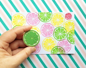citrus slice rubber stamp | lemon lime orange grapefruit | fruit stamp | diy birthday | summer crafts | hand carved stamp by talktothesun