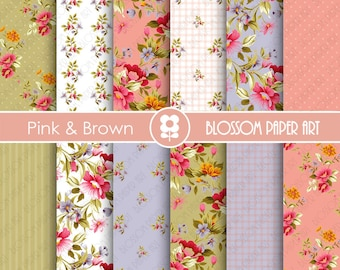 Floral Digital Paper, Pink Floral Digital Paper Pack, Pink Brown, Scrapbooking Paper Pack - INSTANT DOWNLOAD  - 1897