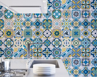 Colorful Tiles - Wall Tiles - Floor Tiles - Tile Decals - Flooring - Tile Stickers - Vinyl floor - bathroom - kitchen - PACK 25 - SKU:COLTI