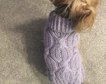 Lilac - cabled dog sweater knitting pattern