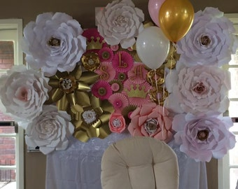 Gold,pink,and white Giant Paper Flower Backdrop