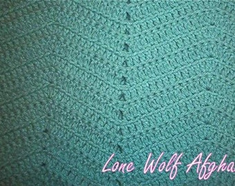 Hand Crocheted Sage Green Afghan